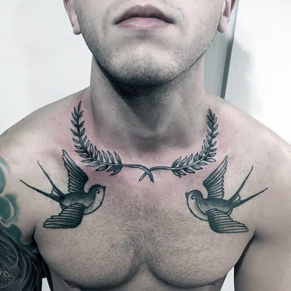 Male Laurel Wreath Sparrow Collarbone Tattoo