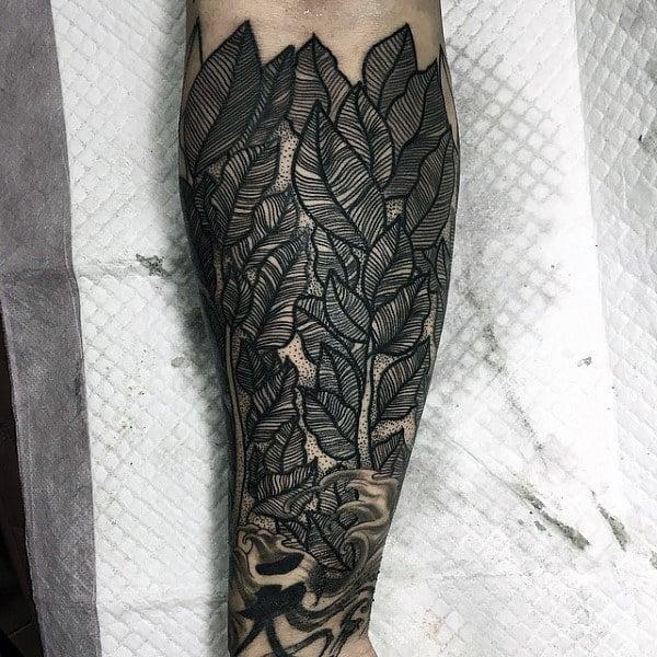 Male Leaf And Vine Tattoos On Arm