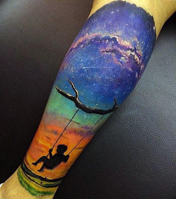 Galexy Girl Swinging Tattoo: 50 Celestial Tattoos For Men