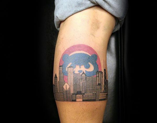 Male Leg Calf City Skyline Chicago Cubs Tattoo