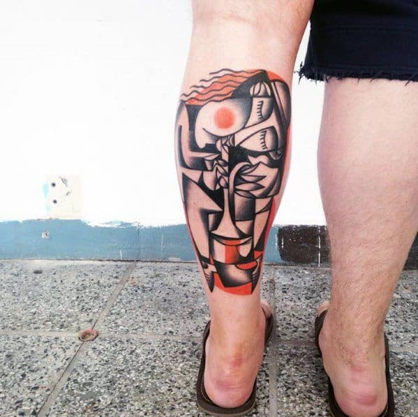 Male Leg Calf Tattoo With Cubism Design