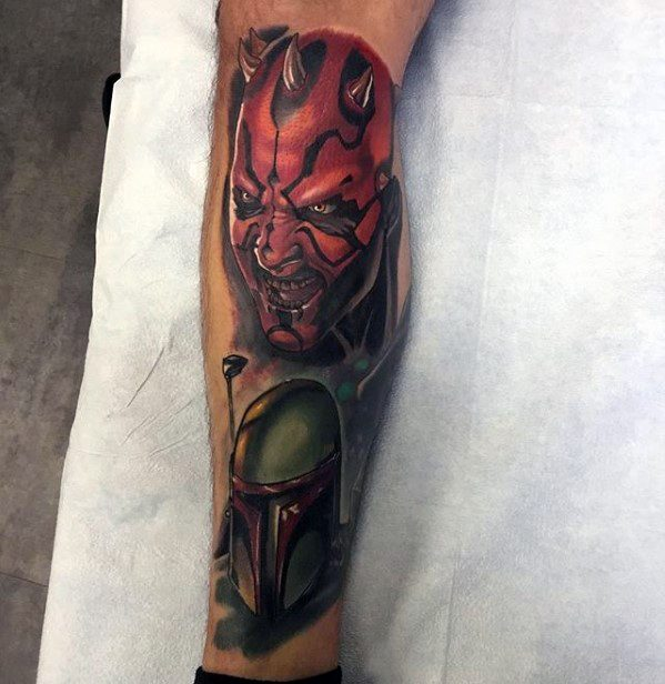 Male Leg Darth Maul Tattoo Design Inspiration