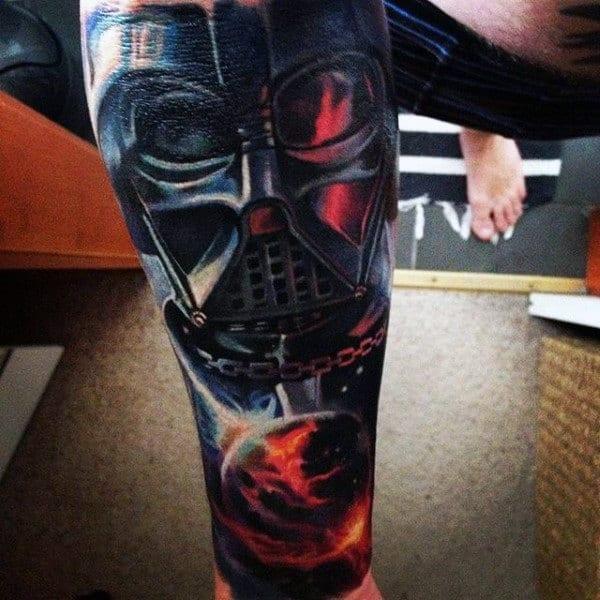 Male Leg Raging Fire Death Vader Tattoo