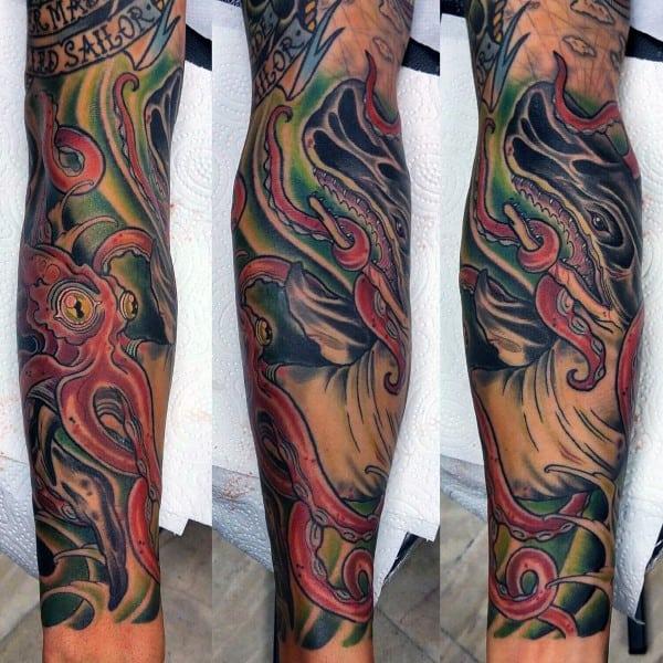Male Leg Sleeve Tattoo Of Kraken Sea Monster