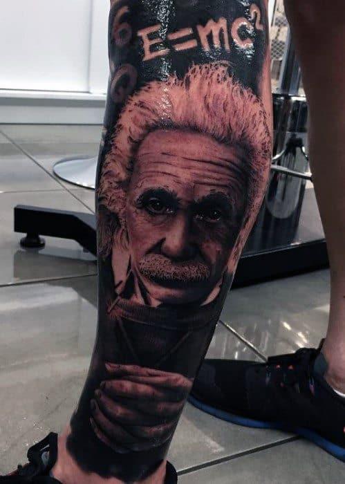 Male Leg Sleeve Tattoo With Albert Einstein Design