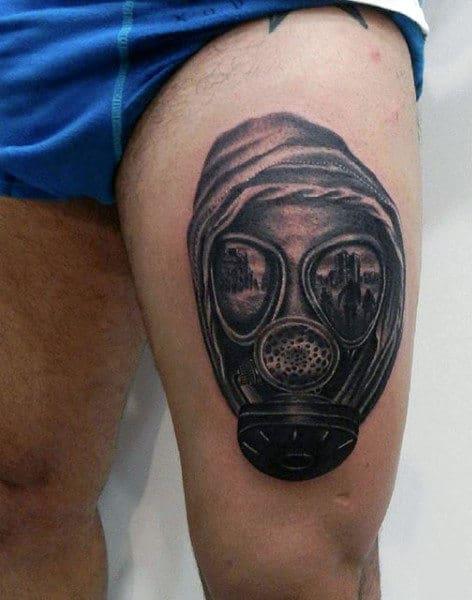 Male Leg Thigh Gas Mask Tattoo In Black Ink