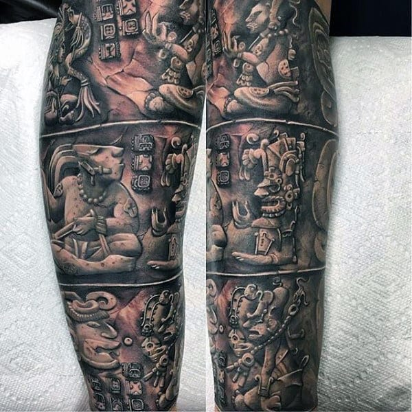 Male Legs Fantastic Black And White Tattoo