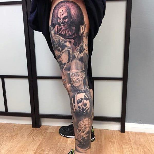 Male Legs Fantastic Halloween Tattoo
