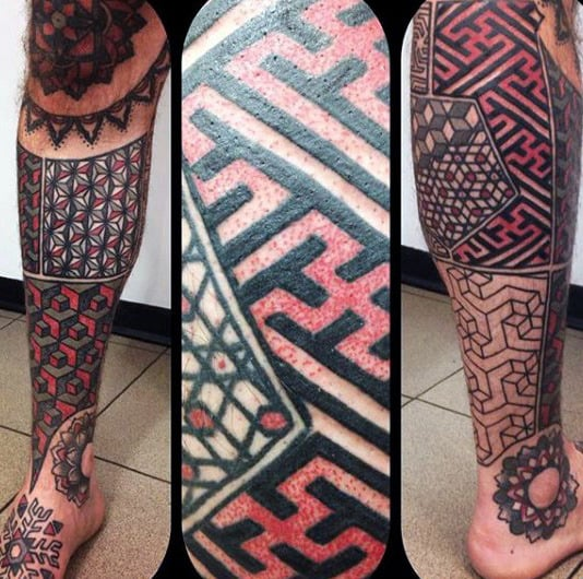 Male Legs Gorgeous Red And Black Tattoo