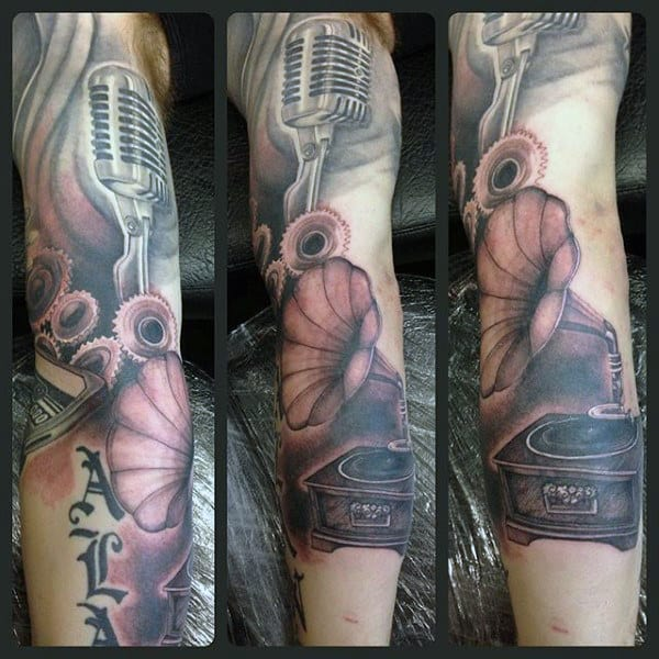 Male Legs Gramophone And Mic Tattoo