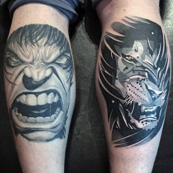 Male Legs Grey Hulk Tattoo