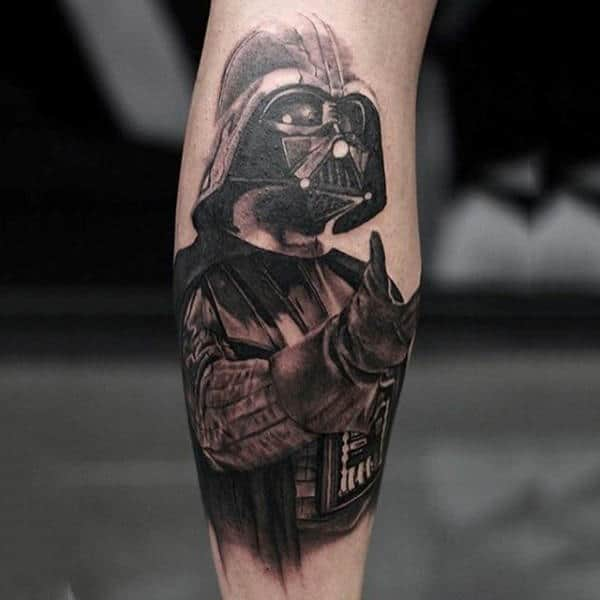 Male Legs Grey Shaded Darth Vader Tattoo