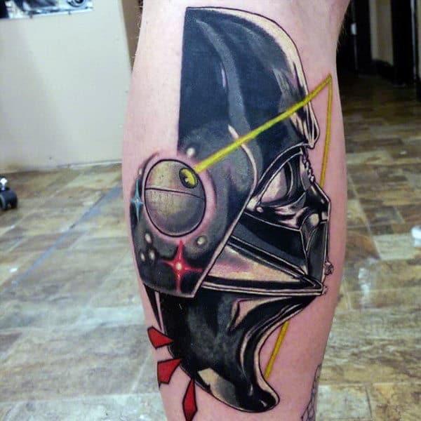 Male Legs Metallic Darth Vader Tattoo