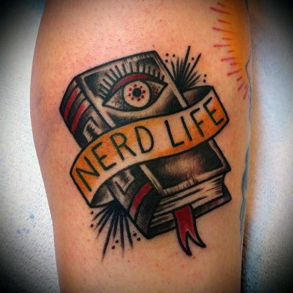Male Legs Nerd Book Tattoo