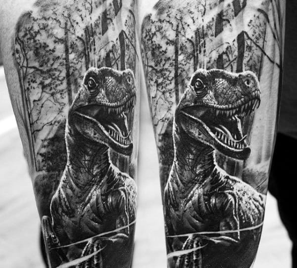 Male Legs Spectacular Grey Dinosaur Tattoo