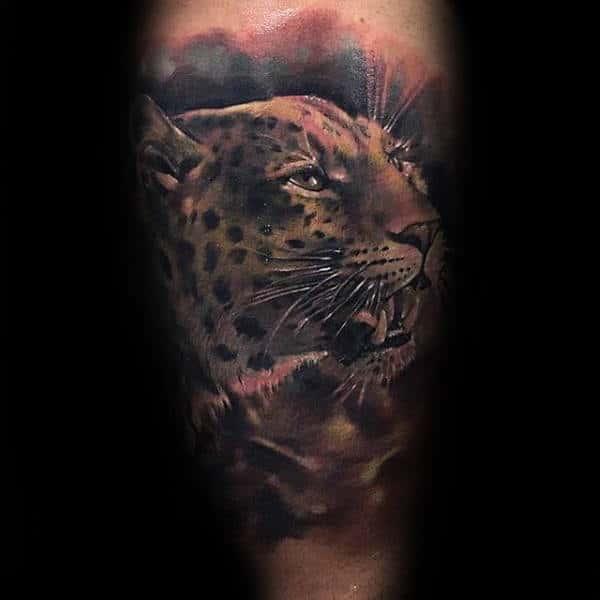 Male Leopard Watercolor Arm Tattoos