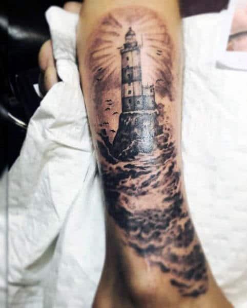 Male Light House Tattoo