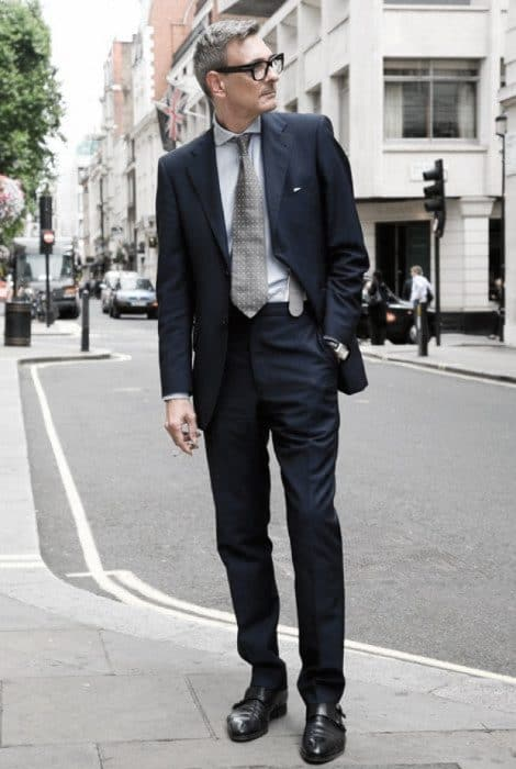 Male Looks Navy Blue Suit Black Shoes Grey Polka Dot Tie Style