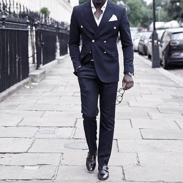 Male Looks Navy Blue Suit Brown Shoes Style