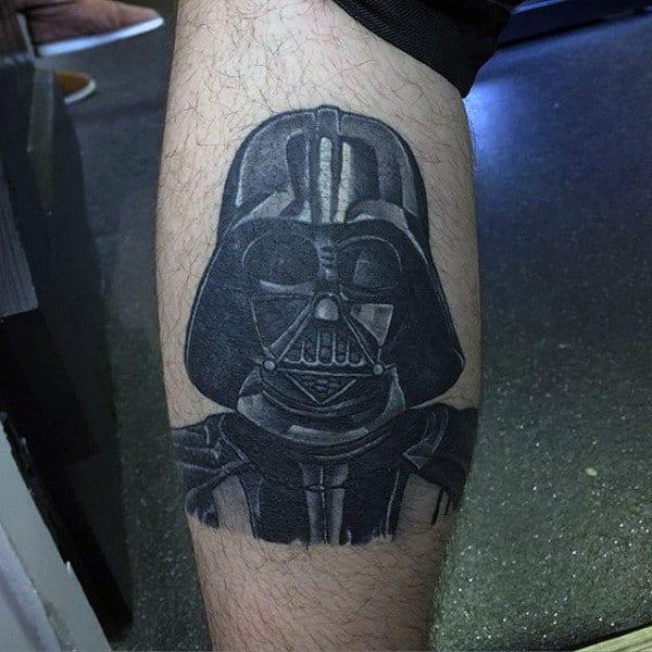 Male Lower Leg Darth Vader Tattoo
