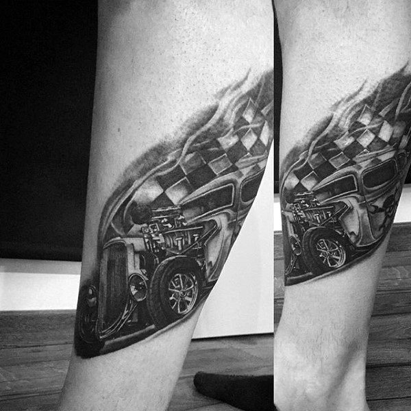 Male Lower Legs Car With Checkered Ribbon Hot Rod Tattoo