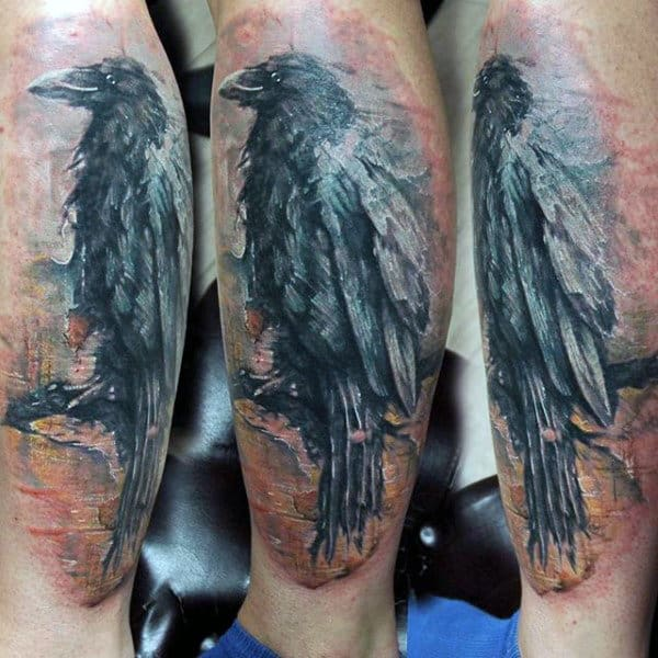 Male Lower Legs Greay Raven Tattoo