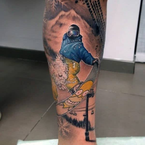 Male Lower Legs Simpsons Themed Snowboard Tatto