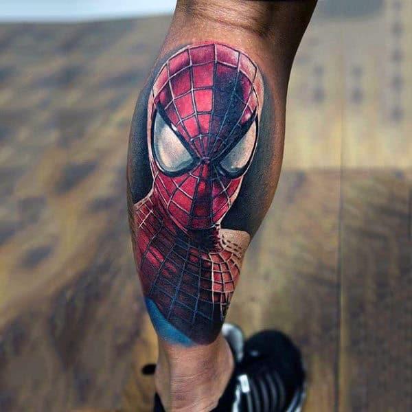 Male Lower Legs Spiderman Tattoo