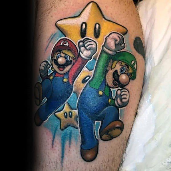 40 Luigi Tattoo Ideas For Men - Mario Bros Designs