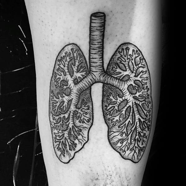 Male Lung Anatomical Arm Tattoo Ideas