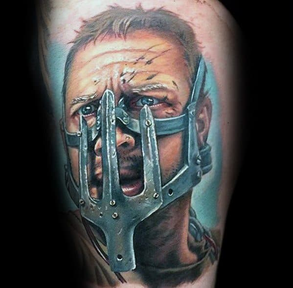 Male Mad Max Tattoo Ideas On Thigh With 3d Design