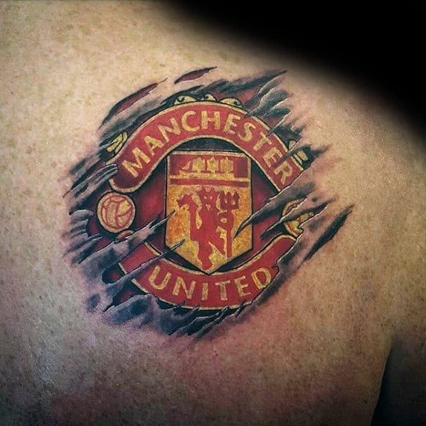 Male Manchester United Tattoo Shoulder Ripped Skin Design Inspiration