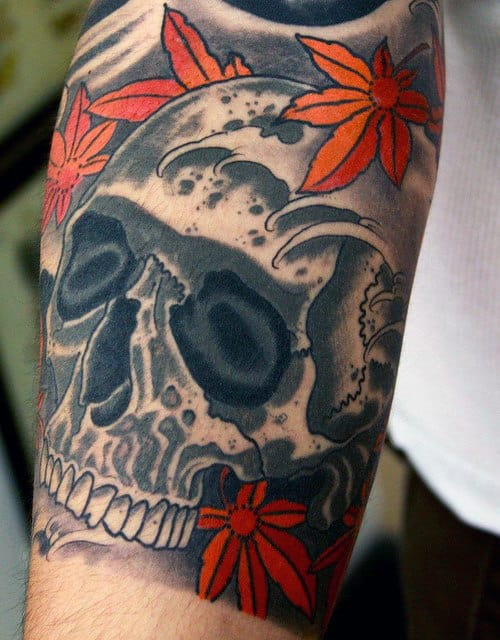 Male Maple Leaf Japanse Skull Bicep Tattoos