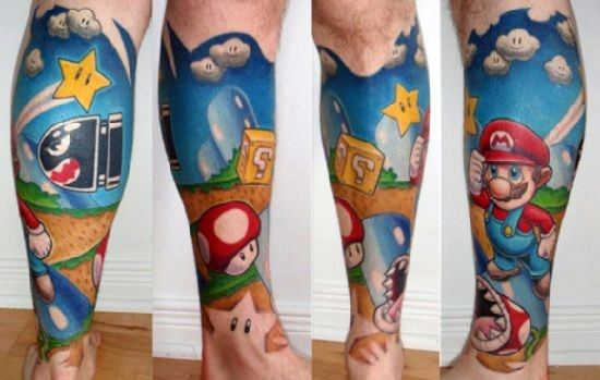 Male Mario Gaming Tattoos Leg Sleeve