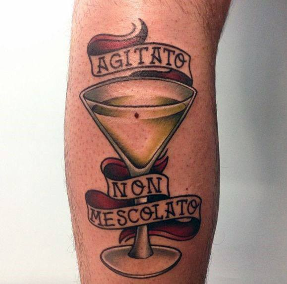 Male Martini Glass Themed Tattoo Inspiration