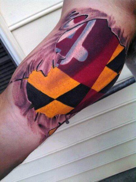 Male Maryland Flag Themed Tattoo Inspiration