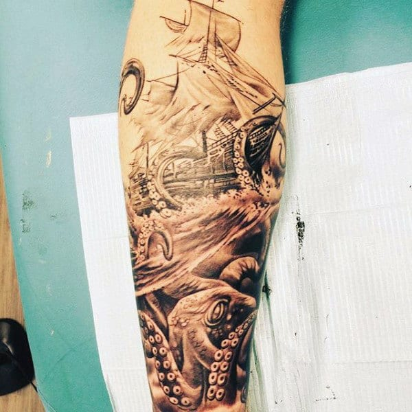 Male Masculine Calf Tattoo Designs Men