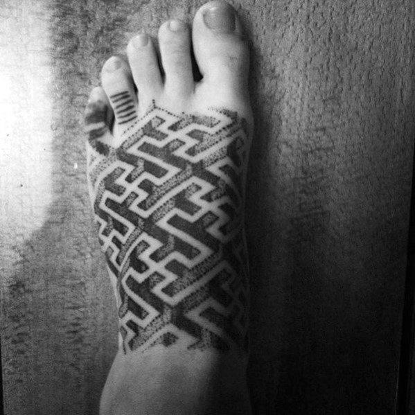 Male Maze Foot Dotwork Tattoo