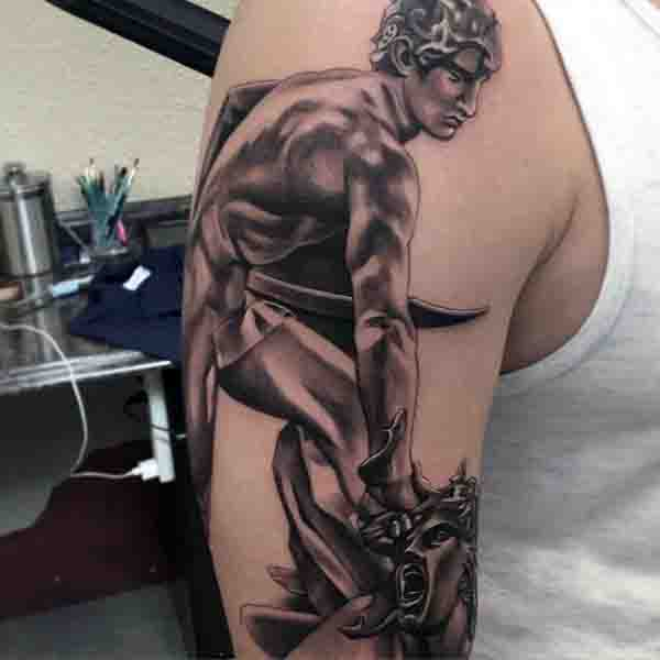Male Medusa Beheaded By Hero Perseus Tattoo