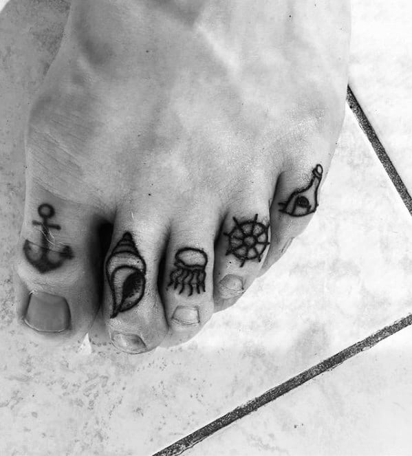Male Message In A Bottle Tattoo Ideas On Toes
