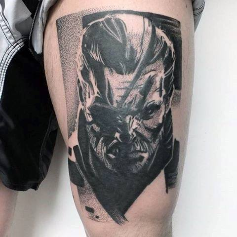 Male Metal Gear Thigh Tattoo Video Game Design Inspiration