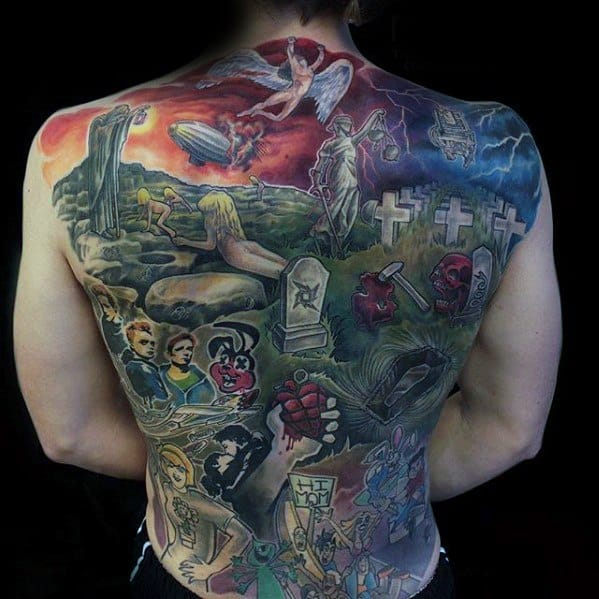 Male Metallica Tattoo Full Back