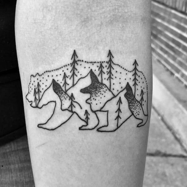 Male Minimalist Mountain Themed Tattoos