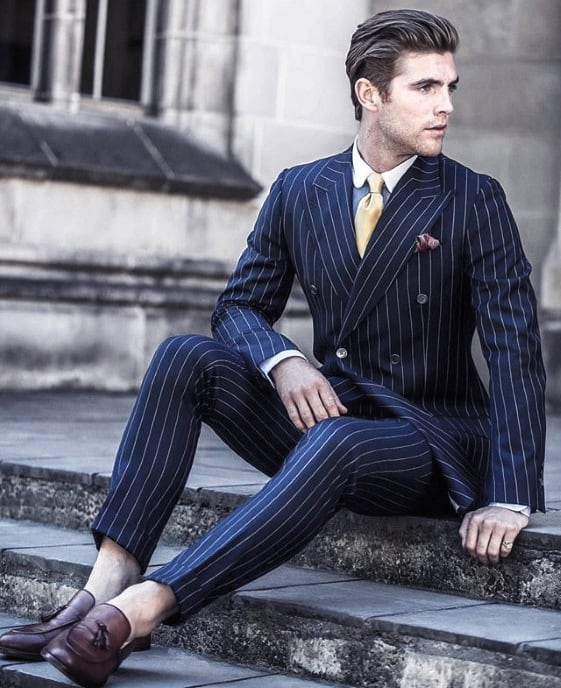 Male Modern Navy Blue Suit Brown Shoes Style Inspiration