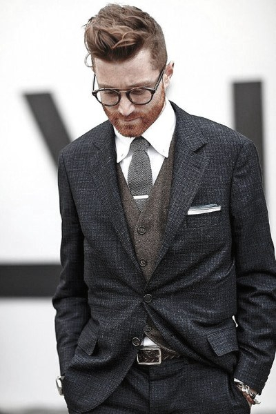 Male Modern Navy Blue Suit Style Inspiration