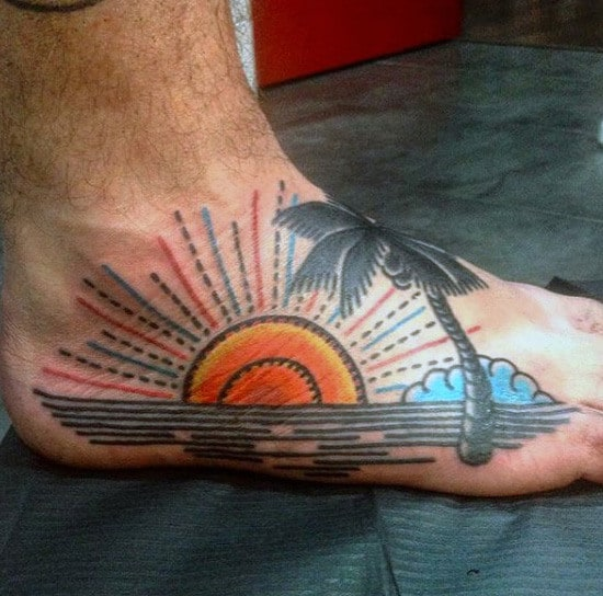 Male Modern Sunset And Palm Tattoo On Foot