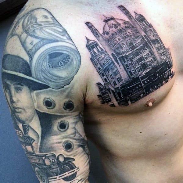 Male Money Roll Tattoo Sleeve