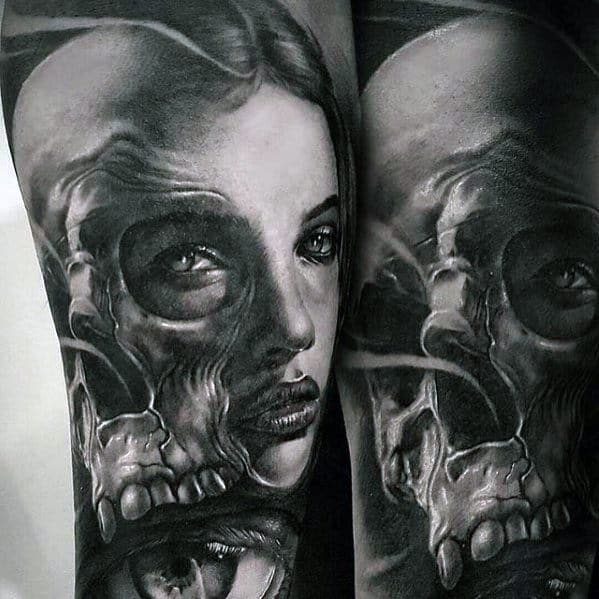 Male Morph Female Face With Skull Arm Tattoo Ideas