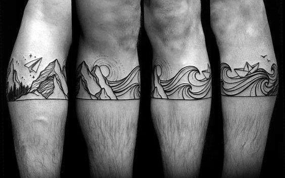 Male Mountain Wave Themed Tattoos