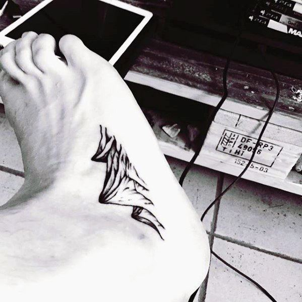 Male Mountains Side Of Ankle Tattoo Ideas